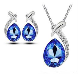 Wholesale Necklaces Pendants Earings Set - Bridesmaid Jewelry Set for Wedding Earings Wholesale Sawrovski Australian Crystal Jewellery Silver Necklaces Pendants Party Jewelry Sets