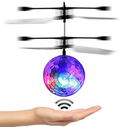 Wholesale Remote Control Flying Ufo - Drone Helicopter RC Toy EpochAir RC Flying Ball Built-in Disco Music With Shinning LED Lighting Remote Control UFO Toys for Kids