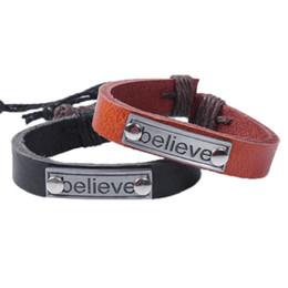 Wholesale Cheap Vintage Bracelets - Charm Leather Bracelet Women Vintage Believe Bracelets Cheap Statement Jewelry Lady Best Friends Gift Friendship Bracelets