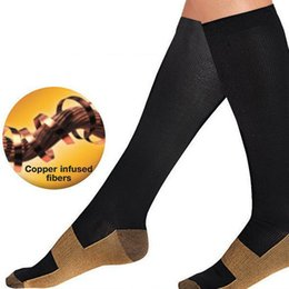 Wholesale Knee Support Pair - Wholesale- 1 Pair Unisex Anti-Fatigue Compression Men Socks Foot Pain Relief Miracle Copper Anti Fatigue Socks Support Knee High Stockings