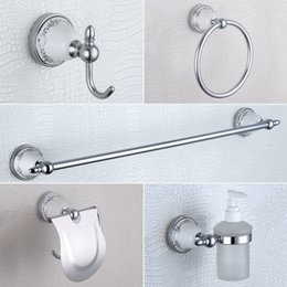 Wholesale Copper Bathroom Accessories Sets - Chrome Bathroom Accessories Set USD304 Stainless Steel and Copper Luxury Bathroom Hardware with Blue and White, 5 pcs set