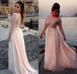 Wholesale Elie Saab Bateau Dress - Long Sleeves Elie Saab Prom Dresses 2016 Sheer Scoop Gorgeous Crystal Beaded Neck A-Line Covered Back Chiffon Evening Pageant Gowns