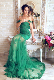 Wholesale Gowns For Emerald Green - Emerald Green Long Evening Dress 2017 Sweetheart Off Shoulder Sleeve Appliques Lace Beaded Women Sexy Formal Pageant Gown For Prom Party