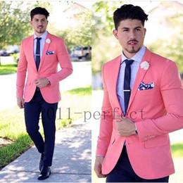 Wholesale Skinny Flat Ties - Wholesale- Coral Jacket Navy Blue Pants and Tie Custom Made Groomsmen Groom Tuxedos Notch Lapel Men Suits Wedding Best Man Blazer Z201