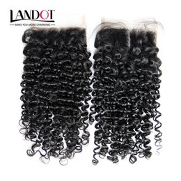 Wholesale Blonde Lace Top Closure - Brazilian Curly Virgin Human Hair Top Lace Closure Free Middle Part Peruvian Malaysian Indian Cambodian Mongolian Deep Kinky Curly Closures