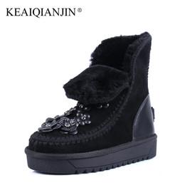 Wholesale Black Studded Platforms - wholesale Woman Studded Snow Boots Pink Black Winter Genuine Leather Flat Shoes Flower Platform Fur Crystal Ankle Boot 2017