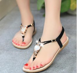 Wholesale Leather Comfort Straps - Women sandals 2016 35-42 comfort sandals women Summer Classic Rhinestone fashion flat plus size sandalsColor red, black, beige, sky blue, pu