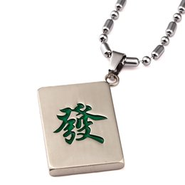 Wholesale Men Chinese Necklace - New Arrival Fashion Chinese Style Mahjong Word Green Dragon Pendant Necklace Hip Hop For Men Women