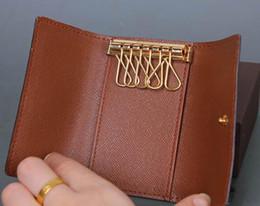 Wholesale Box England - 2017 Wholesale original box luxury multicolor short wallet six key holder women men's classic zipper pocket key chain free shipping 62630