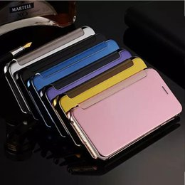 Wholesale Iphone S Case Flip - Plating Mirror Leather Case Clear Window View Chrome Flip Electroplate Phone Case Cover for iphone 6 6 S 7 7 Plus Galaxy S7 S6 edge S8 Plus