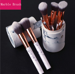 Wholesale Bb Sets - 2017 Newest Hot Sale 10pcs Marble Makeup Brush Professional MakeUp Brushes Foundation BB Cream Hiqh Quality With PU Bucket DHL Free Shipping
