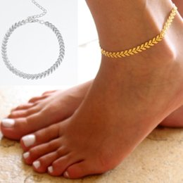 Wholesale Gold Chain Anklet - Ladies Silver Gold Ankle Bracelet Chain Adjustable Anklet Foot Charm Snake Chain