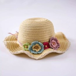 Wholesale Wholesale Straw Hats For Kids - 2016 Straw Kids Caps Multi-colors Short Brim Flower Beach Sun Hats for Girls Top Quality Girls Sun Protection Hats Kids Travel Hat