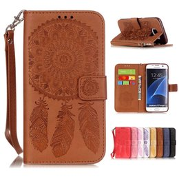 Wholesale Soft Flowers - For Samsung Galaxy S7 edge S6 Plus A5 2017 A310 S5 Beautiful Wallet Leather Case PU Flip Soft Gel Cover Embossed Campanula Flower