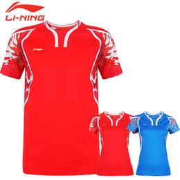 2019 badminton vermelho Dragão chinês Li Ning badminton Camisa, poliéster rápido seco tênis Jersey, forro Badminton Camisetas Azul Vermelho Shorts M-4XL Frete Grátis ASD23 badminton vermelho barato