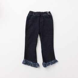 Wholesale Kids Cotton Cargo Pants - Everweekend Kids Girls Casual Pockets Tassels Denim Long Pants New Baby Jeans Elastic Waist Pants for 2-7Y Children