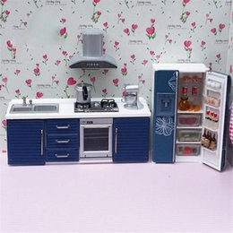 Wholesale Play Miniature Dollhouse - Doub K 1:12 Dollhouse Furniture toy for dolls simulation Miniature refrigerator stove kitchen sets pretend play toys for girls