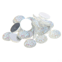 Wholesale Wholesale Flatback Resins - 8mm-18mm Crystal AB Color Round Glue On Resin Beads Flatback Scrapbooking Crafts Non Hotfix Rhinestones DIY Bags Shoes Clothes Embellishment