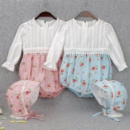 Wholesale Baby Striped Bodysuit - 2017 fall autumn baby romper long sleeve floral jumpsuit baby girl bodysuit newborn clothes baby boutique clothing INS lace rompers bonnets