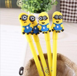 Wholesale Minions Free Shipping - Free shipping Cute Minions Cartoon Plastic Silicone Gel Pens for Children Student Writting School Gift