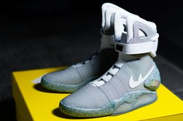 Wholesale Men Mid Top Boots - New Air Mag Men Limited Edition Back To The Future Top McFly Sneakers Mags Ankle Boots With LED Lights Luxury Fashion Outdoor Shoes