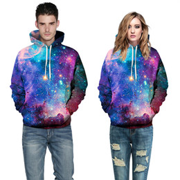 Wholesale Nwt Fashion - 2016 NWT Autumn Winter 3D Galaxy Print Fashion Sport Women Hoodies Coat With Hat Front Pocket Sweatshirts Hooded Pullovers