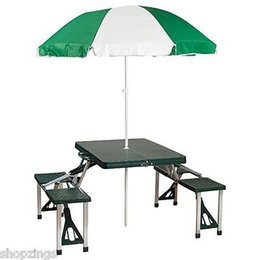 Wholesale Picnic Portable Table - Portable Folding Picnic Table with Umbrella. Camping Park Beach Outdoor Suitcase