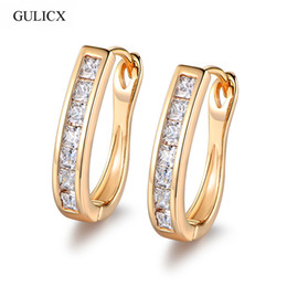 Wholesale Womens Ethnic Jewelry - Wholesale- GULICX 2017 Fashion Womens Ethnic Circle Earring Gold-color Hoop Earrings Crystal Zircon Loop Wedding Jewelry E303