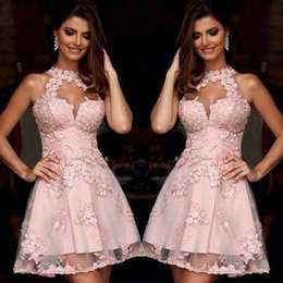 Wholesale Pink Semi Formal Dresses - Semi Formal Cocktail Dresses 2016 Illusion High Neck Blush Pink Lace Homecoming Dresses Sheer Neck Short Prom Party Gowns Sleeveless