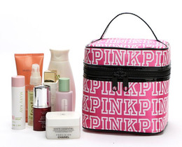 Wholesale Korean Cartoon Love - Classic Love Pink Secret Cosmetic Bag Double Zipper Handbag Portable Storage Bag 4 Colors Makeup Train Cases free shipping