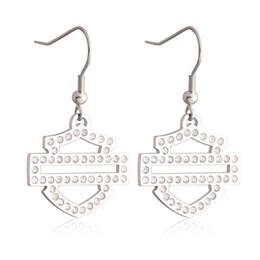 Wholesale Dangling Clear Rhinestone Earrings - 2016 biker jewelry hot sellings biker earrings with clear crystal stones dangle chandelier biker events