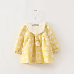 Wholesale Doll Boat - 2017 New Summer & autumn Baby girls dress Adorable Floral Printed Doll Collar Long Sleeve Dress for Baby Girls
