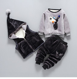 Wholesale Baby 3pc Sets - Baby winter outfits boys girls cartoon moose pompon velvet sweatshirt+hooded pleuche waistcoat+Elk deer velour pants 3pc clothing sets R0325