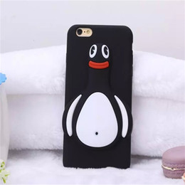 Wholesale Iphone Silicone Penguin Case - Black Penguin Soft Silicone Case For iphone 6S 3D Animal Cute Skin Cover For iPhone 5S Back Cover