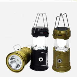 Wholesale Emergency Charge Solar - New solar charging camping lantern LED camping lantern lamp outdoor portable telescopic emergency Flashlights Lamp For Hiking Camping