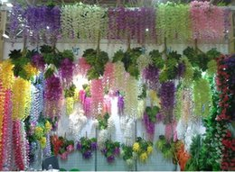 Wholesale Flower Birthday Decorations - High Quality Artificial White Cherry Blossom Flower Vine Wisteria Plant Home Decorative Silk Flowers For Wedding Birthday Party Decoration