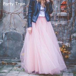Wholesale wholesale tulle skirt - Wholesale- 2017 Spring Fashion Womens Lace Princess Fairy Style 4 layers Voile Tulle Skirt Bouffant Puffy Fashion Skirt Long Tutu Skirts