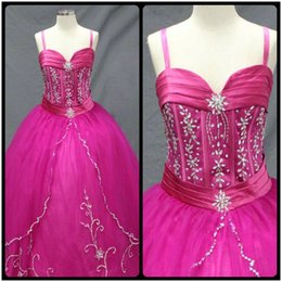 Wholesale Spaghetti Quinceanera Dress - Bewitching Ball Gown Spaghetti Straps Crystal Beading Tulle Fuchsia Quinceanera Dresses Cheap Custom Made Special Occasion Dresses