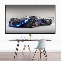 Canada ZZ1301 simple toile abstraite art bleu voiture de sport toile mur art photos peinture à l'huile pour salon décoration chambre impressions Offre