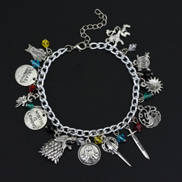 Wholesale Family Summer - Wholesale-Game of Throne Bracelet House Stark Lannister Family Pendant Summer Accessory Fashion Jewelry