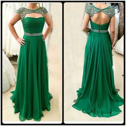 Wholesale Robes Pageant - 2017 Elegant Sparking Evening Dress Beadings Crystal Chiffon Green Pageant Gown Party Dress Robe de Soiree vestido de festa