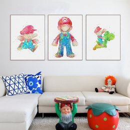 Wholesale Poster Super Mario - Watercolor Super Mario Japanese Pop Game A4 Art Print Poster Big Wall Picture Canvas Paintin Kids Room Modern Home Deco No Frame