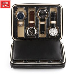 Wholesale Travel Watches Case - Wholesale- 8 Grids Watch Leather Box Storage Showing Watches Display Storage Box Case Tray Zippered Travel Watch Collector Case