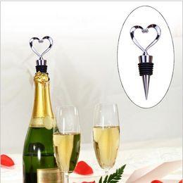 Wholesale Twisted Bottle Stopper - Heart Shaped Wine Bottle Stopper Twist Wedding Favor Gifts New Arrival Wine Bottle Stopper Bar Tools Silver Color YYA302