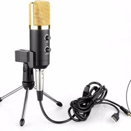 Wholesale New MK F100TL USB Condenser Sound Recording Microphone With Stand Volume Black Adjustable Microfone For Radio Braodcasting