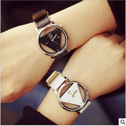 Wholesale Triangle Men Watches - Man Women Watch PU Leather Strap Hollow Glass Alloy Dial Wristwatches Quartz Casual Style Triangle Analog Watches Christmas Gift Lover