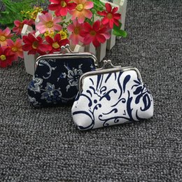 Wholesale Cheap Vintage Clutches - Chinese national minium blue flower coin purse canvas key holder wallet hasp small gifts bag Fashion clutch bags cheap coin wallet