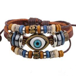 Wholesale Pu Leather Braided Bracelet - Ysiop Men Women Retro Leather Bracelet Bohemia PU Braid Wristband Wood Beads Hemp Rope Wraps and Bangles