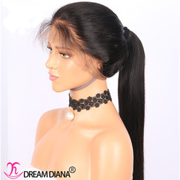 Wholesale Glueless Remy Wigs - Silky Straight Brazilian Full Lace Human Hair Wigs With Baby Hair Remy Hair Pre Plucked Glueless Lace Wigs Bleached Knots