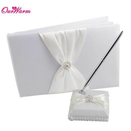 Wholesale Guest Book Sets For Wedding - Wholesale-2Pcs set Wedding Satin Guest Book Pen Set Multicolors Romantic for party Bridal Decoration Supply